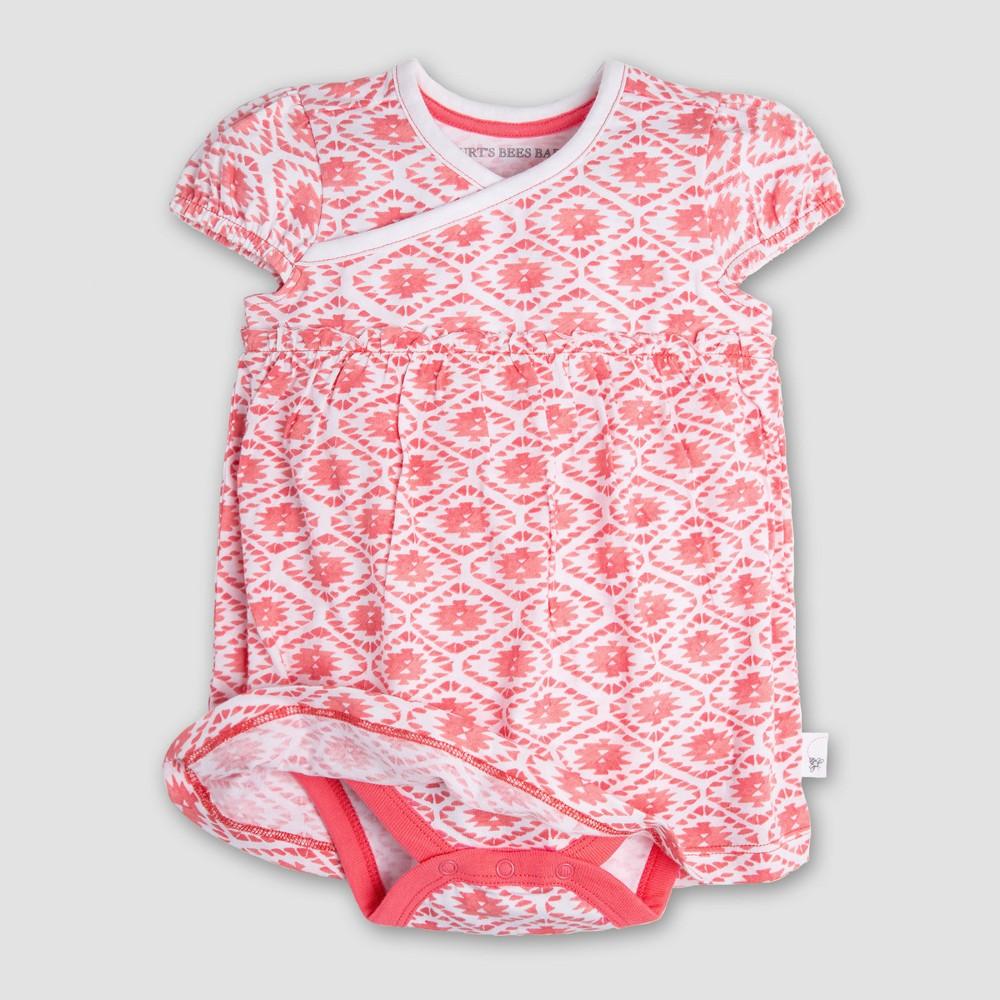 Burt's Bees Baby Girls' Organic Cotton Kimono Bodysuit - Watercolor 6-9M, Pink