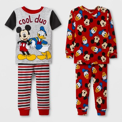 Baby Boys' Mickey Mouse 4pc Pajama Set - Red 18M