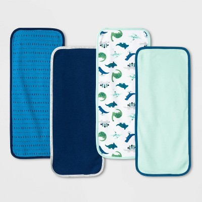 Baby Boys' 4pk Dino Burp Cloth - Cloud Island™ Blue