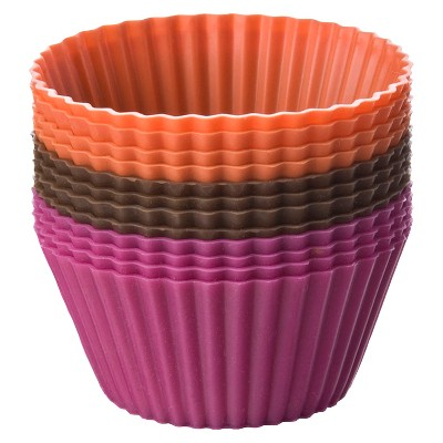 Chicago Metallic Baking Cups 12 Piece Silicone Orange/ Brown Fuchsia