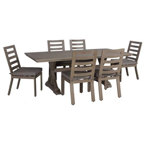 aruba 7pc patio aluminum frame dining set with sunbrella cushions gray teva patio furniture
