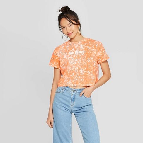 Women's Short Sleeve Crewneck Be Kind Cropped T-Shirt - FREEZE (Juniors') - Orange - image 1 of 2