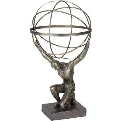 """Studio 55D Atlas with Globe 17 1/4"""" High Bronze Sculpture"""