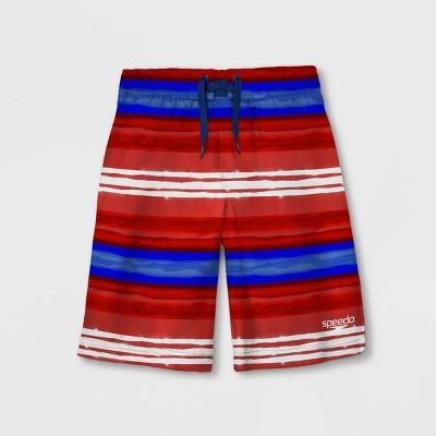 Speedo Boys' Surfrider Striped Swim Trunks