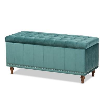 Kaylee Velvet Upholstered Button Tufted Storage Ottoman Bench - Baxton Studio
