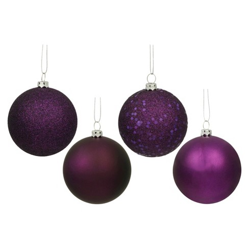 16ct Plum Assorted Finishes Ball Shatterproof Christmas Ornament Set - image 1 of 1