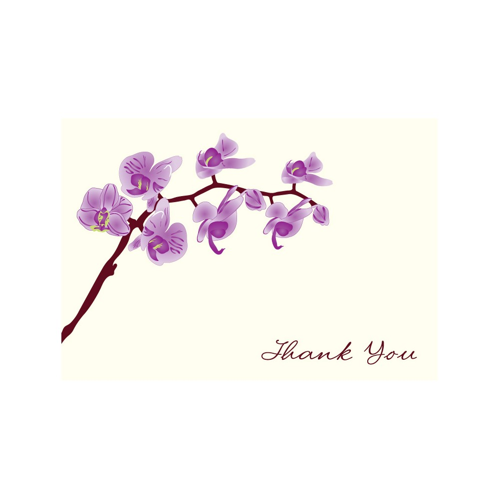 Image of 50ct Thank You Cards with Orchids Design