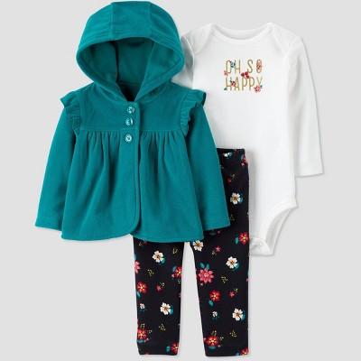 Baby Girls' Bodysuit,Ruffle Sleeve Cardigan Top & Bottom Set - Just One You® made by carter's Teal/White 3M