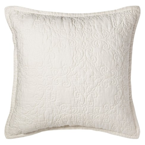 Sour Cream Quilted Linen Pillow Sham - Fieldcrest® - image 1 of 5