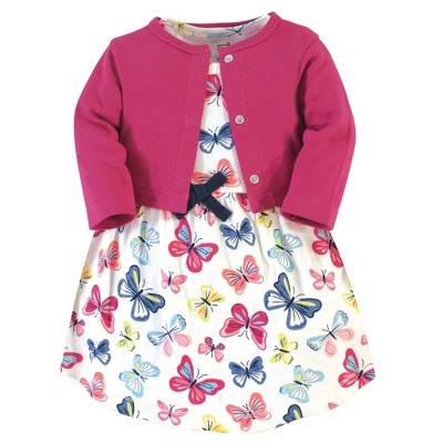 Touched by Nature Baby and Toddler Girl Organic Cotton Dress and Cardigan 2pc Set, Bright Butterflies