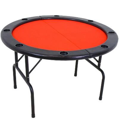 6-Player Round Folding Poker Table - Sunnydaze Decor