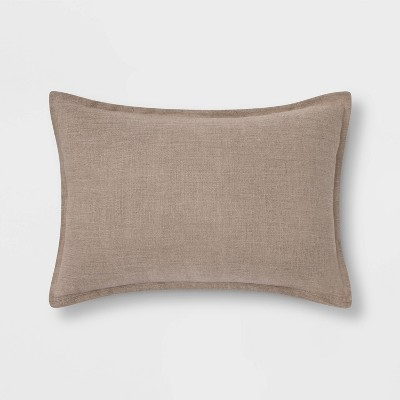 Lumbar Reversible Linen Pillow with Self Flange Neutral - Threshold™