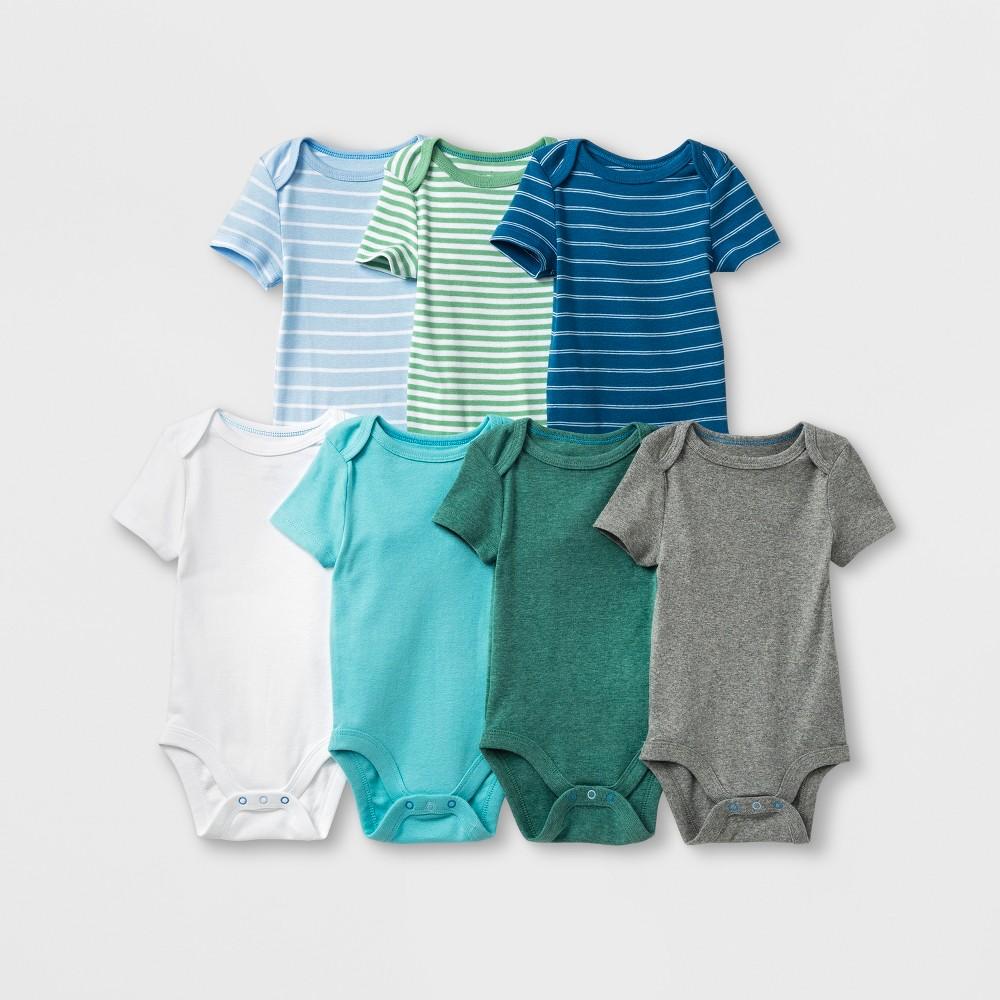 Baby Boys' 7pk Bodysuits - Cloud Island 6-9M, Multicolored