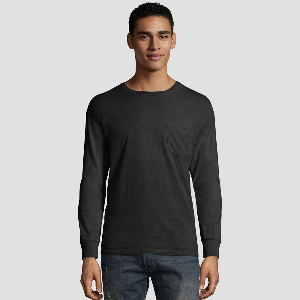 Hanes Men S Long Sleeve 1901 Garment Dyed Pocket T Shirt Black 2xl