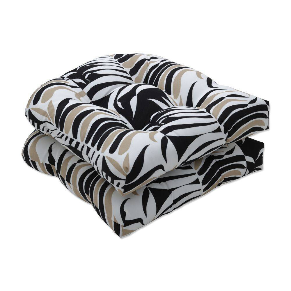 2pc 19 34 X 19 34 Outdoor Indoor Seat Cushion Palm Stripe Black Tan Pillow Perfect