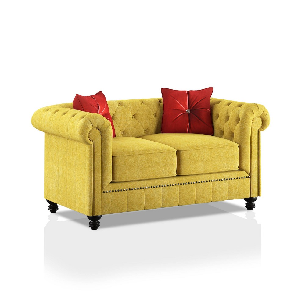 Cheap Shields Rolled Arms Loveseat Red - HOMES: Inside + Out