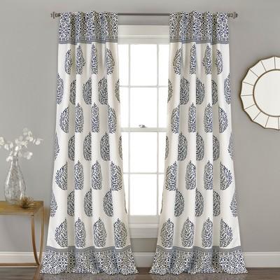Teardrop Leaf Room Darkening Window Curtain Navy Set 52X84 - Lush Décor