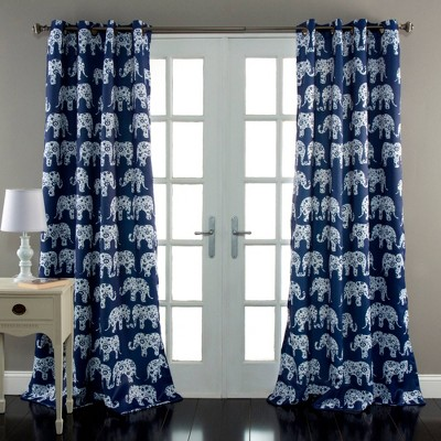 "Set of 2 84""x52"" Elephant Parade Room Darkening Window Curtain Panels - Lush Décor"