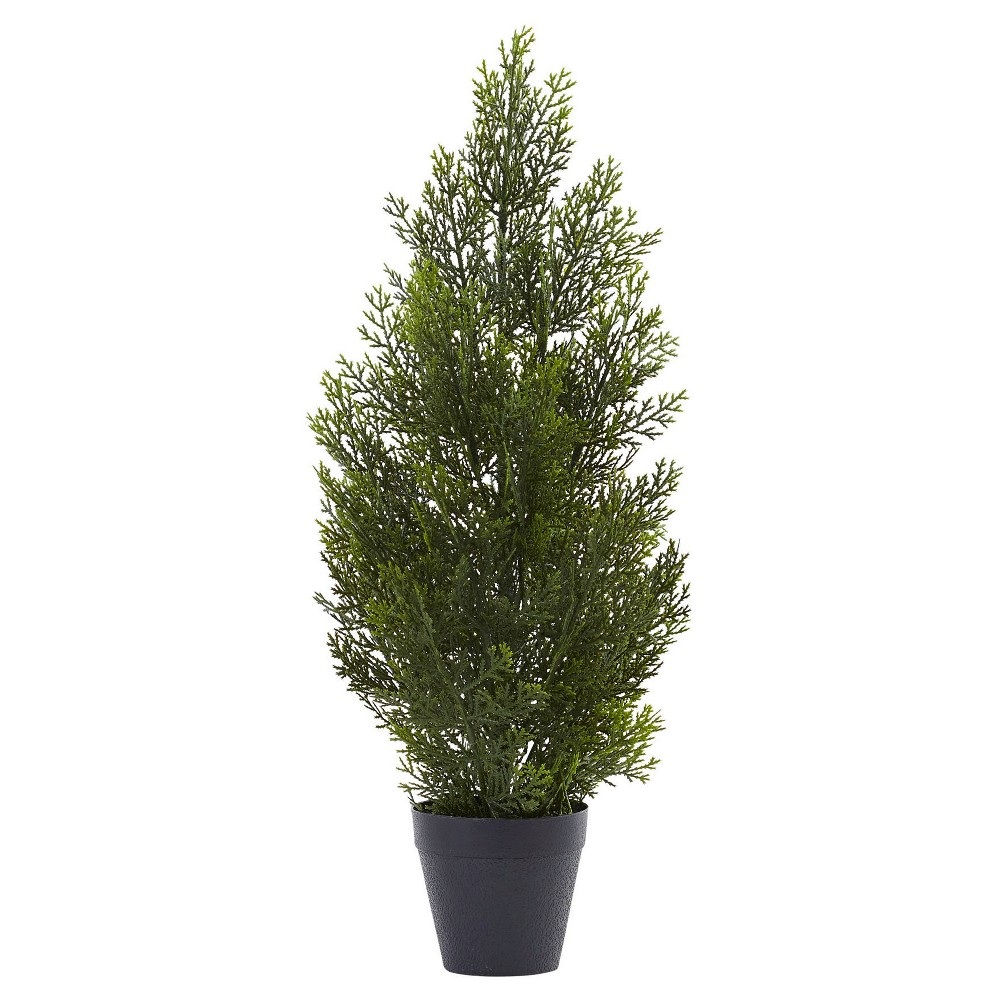 Mini Cedar Pine Tree (Indoor/Outdoor) - Green (2') The perfect addition to your patio or hallways. This Mini Cedar Pine Tree (Indoor/Outdoor) - Green (2') from Nearly Natural is sure to fill your living space with a sense of refreshing calm and natural beauty. Use it to fill the empty floor spaces within your home or by your patio door to make a definite impression. Made from a combination of durable materials, making this decorative accent ideal for outdoor use.