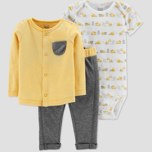 Baby Boys' 3pc Stripe Set - Just One You® made by carter's Yellow - image 1 of 1