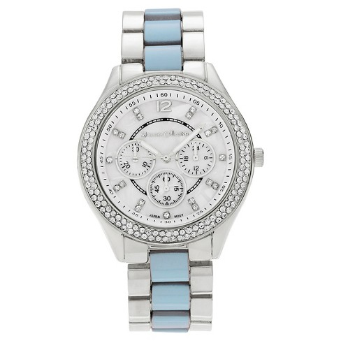 Women's Journee Collection Round Face Rhinestone Accent Link Watch - image 1 of 2
