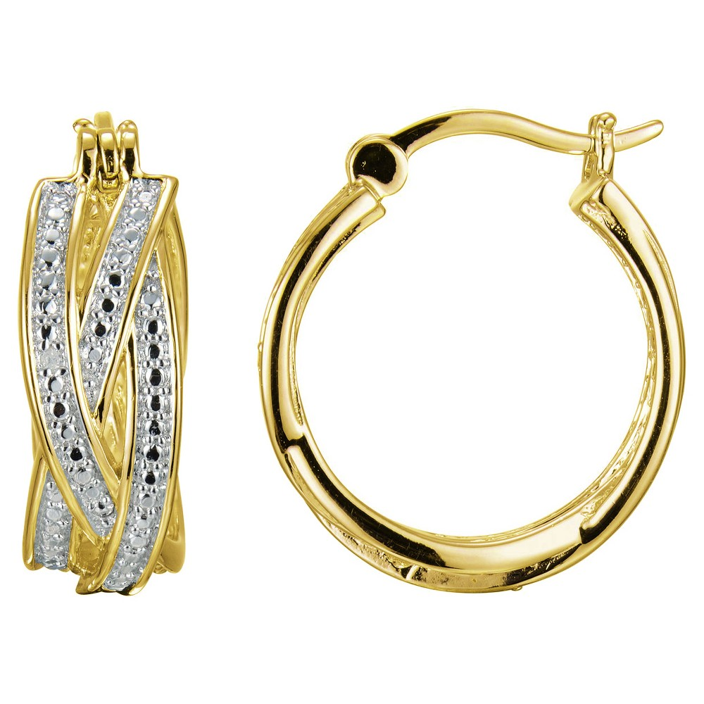 18k Yellow Gold Plated Sterling Silver Diamond Accent Hoop Earrings, Girl's