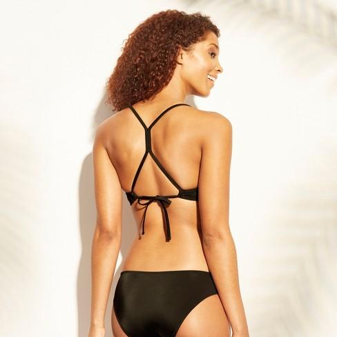 89265f01d61 Women's Shore Light Lift Laser Cut Metallic Bikini Top - Shade & Shore™  Black/Copper : Target