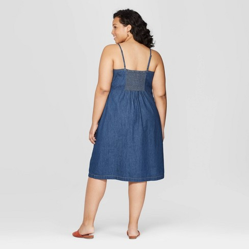 Women s Plus Size Sleeveless V-Neck Denim Dress - Universal Thread™ Dark  Blue   Target ff182598e