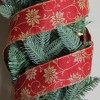 """Northlight Pack of 12 Cranberry Red and Gold Poinsettia Burlap Wired Christmas Craft Ribbon Spools - 2.5"""" x 120 Yards Total - image 2 of 2"""