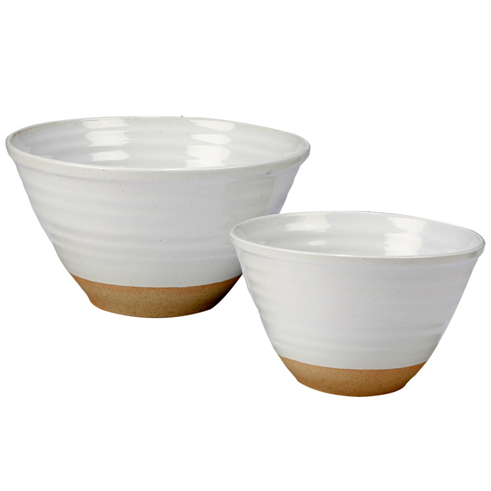 Image of Certified International Artisan Ceramic Mixing Bowls White/Brown - Set of 2