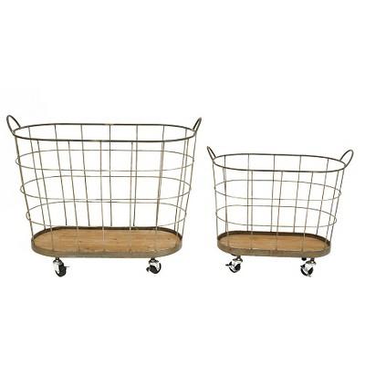 "Metal Rolling Laundry Baskets (S-2 30-1-2""L)"