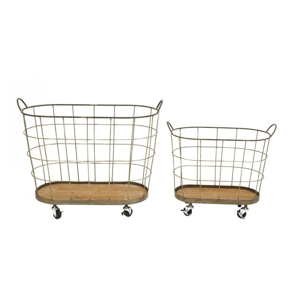 Metal Rolling Laundry Baskets (S-2 30-1-2L), Brass