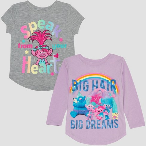 Toddler Girls' 2pk Trolls Long Sleeve and Short Sleeve T-Shirts - Purple/Gray - image 1 of 6