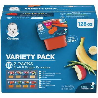 Gerber Sitter 2nd Foods 16pk Fruit & Veggie Baby Food Variety Pack - 128oz