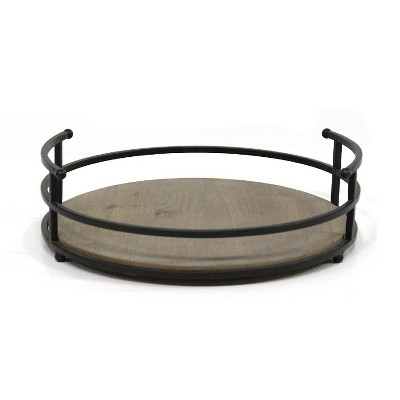 "12"" Metal and Wood Tray Black - Stratton Home Décor"