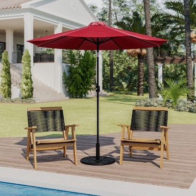 Flash Furniture 9 FT Round Umbrella with Crank and Tilt Function and Standing Umbrella Base