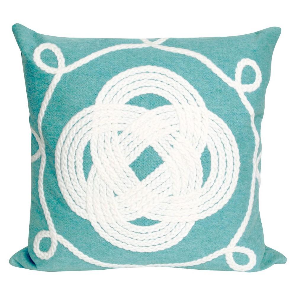 Aqua Ornamental Knot Indoor Outdoor Throw Pillow 20 X20 Liora Manne