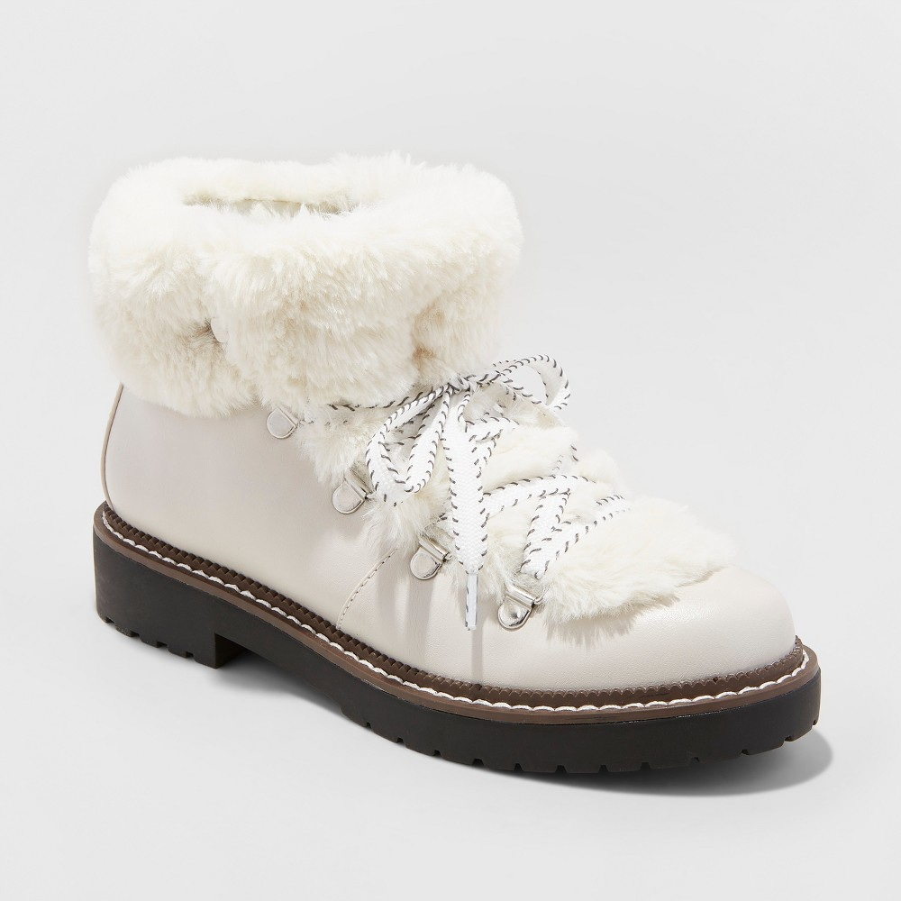 Women's Tessie Faux Fur Hiker Boots - A New Day White 6.5