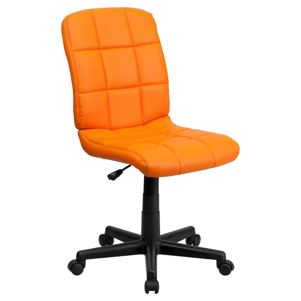 Mid-Back Swivel Task Chair Orange Quilted Vinyl - Flash Furniture