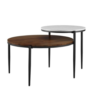 Christine Modern Two-Tier Round Coffee Table Faux Marble - Saracina Home