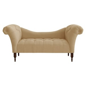 Button Tufted Chaise Settee Linen Sandstone - Threshold , Adult Unisex, Linen Brown