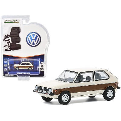 "1977 Volkswagen Rabbit Cream with Woody Graphics ""Club Vee V-Dub"" Series 11 1/64 Diecast Model Car by Greenlight"