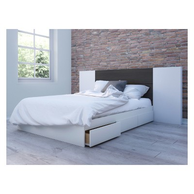 3pc Full Cadence Storage Bed and Headboard with Panels White/Black - Nexera