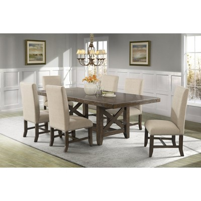 Francis 7pc Dining Set Table And 6 Fabric Side Chairs Brown - Picket House Furnishings