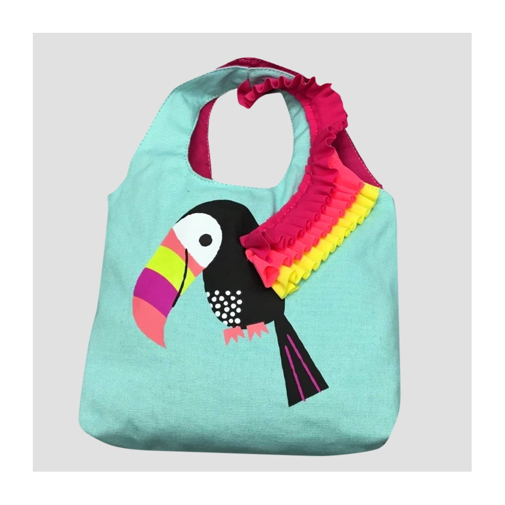 Toddler Girls' Toucan Tote Bag - Cat & Jack Teal (Blue), Size: Small