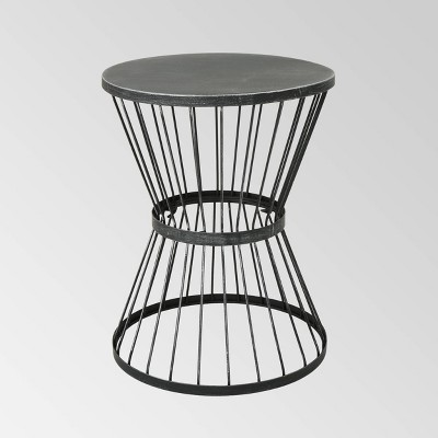 "Lassen 16"" Iron Patio Side Table Matte Black - Christopher Knight Home"