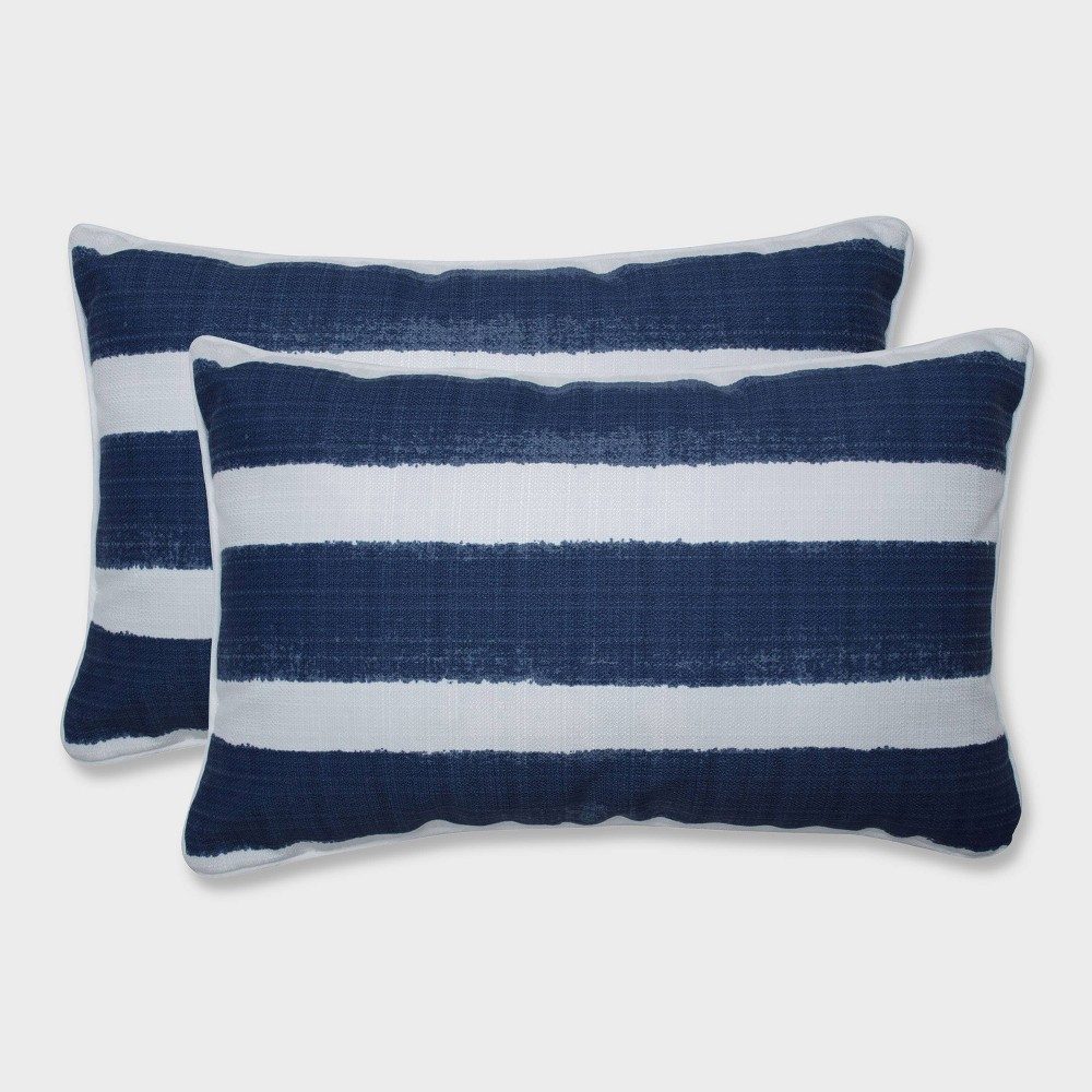 2pk Nico Zaffre Rectangular Throw Pillows Blue - Pillow Perfect