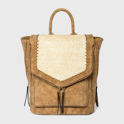 VR NYC Whipstitch Trim Envelope Flap Backpack - Straw