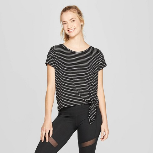 Women's Striped Short Sleeve Side Tie T-Shirt - C9 Champion® - image 1 of 2