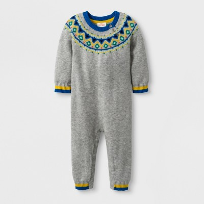 Baby Boys' Fair Isle Sweater Romper - Cat & Jack™ Heather Gray 0-3M